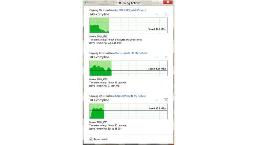 Windows 8 Kopieren: Drei Jobs werden in einem Dialog angezeigt.