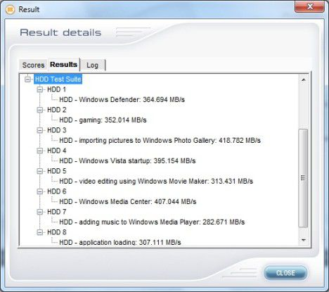 Einzelergebnisse der Patriot Wildfire 120GB im PC Mark Vantage