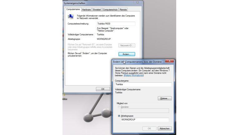 Hier können Sie sowohl die Arbeitsgruppe als auch die Namen festlegen, über den der PC erreichbar ist.
