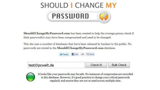 shouldichangemypassword.com: So sieht die Website aus.