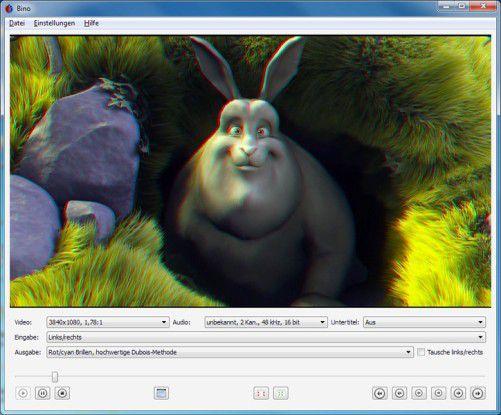 Den 2D-Film Big Buck Bunny können Sie mit Avisynth, dem passenden Skript und Virtualdub in einen 3D-Video umwandeln.