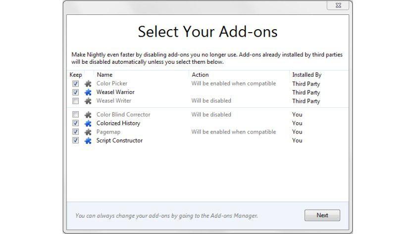 Hilfreich: In diesem Dialog können die Anwender auswählen, welche Add-Ons sie weiterhin nutzen möchten.