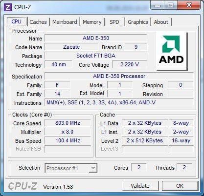 CPU-Z verrät Infos zum AMD E-350