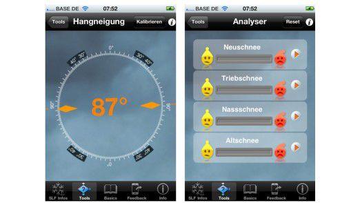 """""""White Risk mobile"""" bietet Informationen und Tools um die aktuelle Lawinensituation zu beurteilen."""