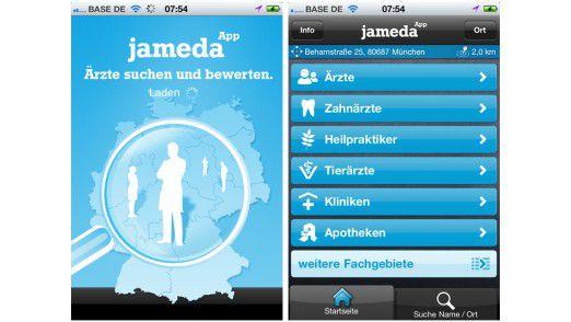 Jameda zeigt Ihnen alle Ärzte in der Umgebung, inklusive einer Bewertung.