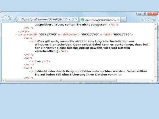 Wenn Sie eine XML-Datei per Doppelklick öffnen, wird sie im Internet-Browser geladen.
