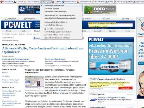 Die Web Developer Toolbar liefert eine F?lle von Informationen zu der gerade ge?ffneten Webseite. Der Screenshot zeigt die Optionen f?r die Formularbehandlung.