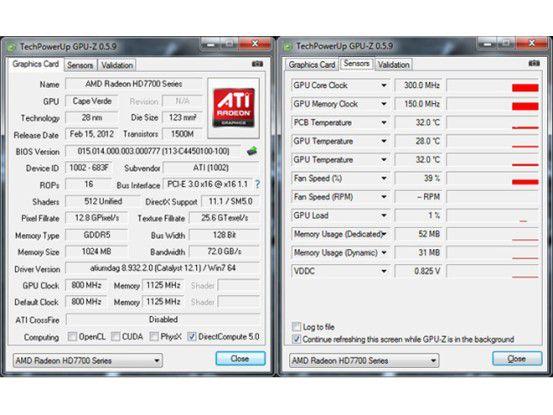 AMD Radeon HD 7750 GPU-Z: Technische Daten und Sensoren