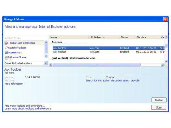 Toolbar über den Add-on-Manager im Browser deaktivieren