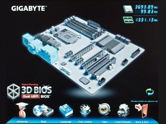 Bei neuen Mainboards mit Z77-Chipsatz spendiert der HauptplatinenherstellerGigabyte ein grafisches BIOS mit 3D-Ansicht der Komponenten.