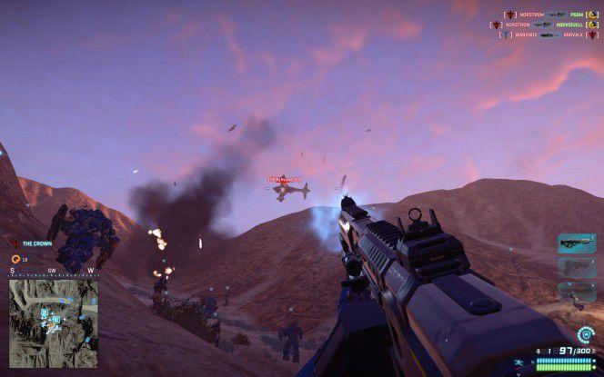 Planetside 2: Der Online-Shooter bietet gigantische Schlachten mit mehreren hundert Spielern, die sich zu Fuß, aber auch in Fahr- und Flugzeugen beharken.