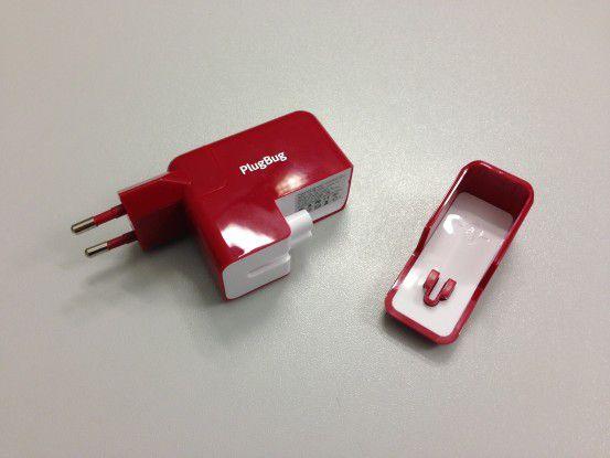 Dank der mitgelieferten Abdeckkappe kann der Plug Bug auch als iPad/ iPhone-only Ladegerät verwendet werden.