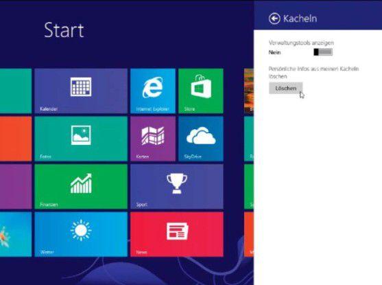 Kacheln putzen: Bei Windows 8 sind mit der Kacheloberfläche einige Schaltstellen hinzugekommen, an denen Sie ebenfalls einiges zur Spurenbeseitigung einstellen können.