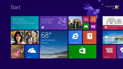 Der Kachel-Startbildschirm von Windows 8.1.