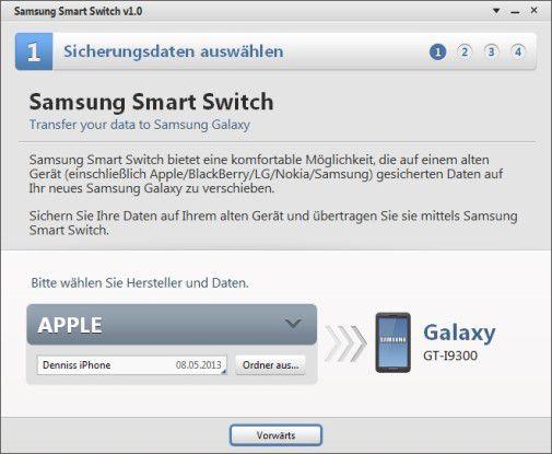 SMit der Samsung-eigenen Software übertragen Sie Daten anderer Betriebssysteme auf ein Galaxy-Smartphone