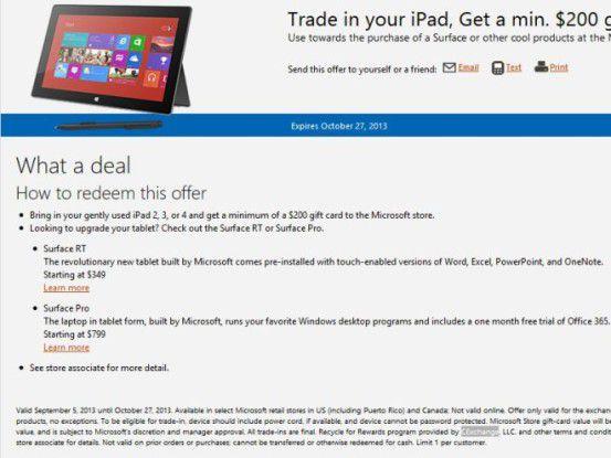 Microsoft nimmt iPad in Zahlung.