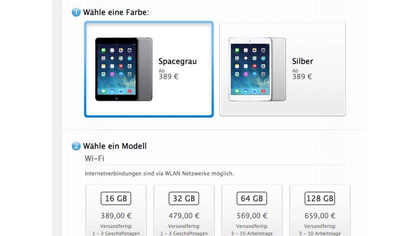 Jetzt da: iPad Mini Retina (c) IDG/Apple.com