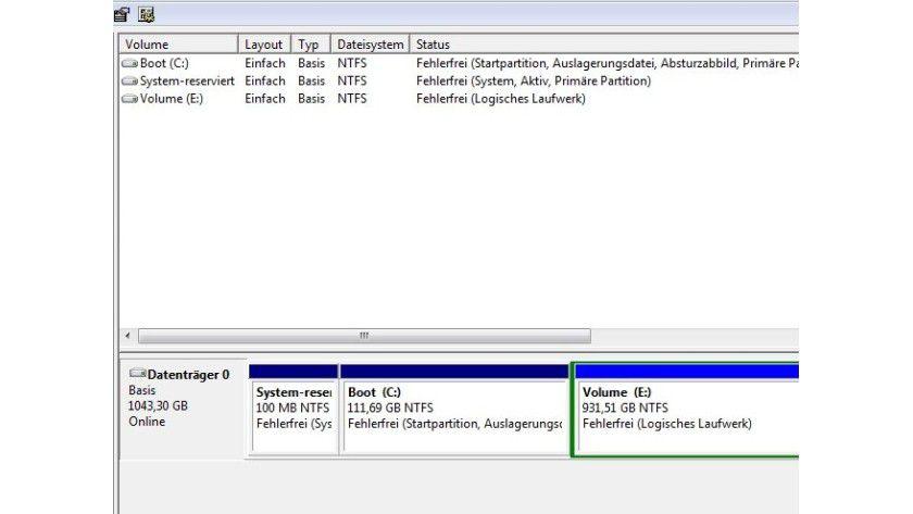 """Windows-Datenträgerverwaltung: Nach der Installation des """"WD Black² installer"""" sieht das Betriebssytem zwei Laufwerke."""