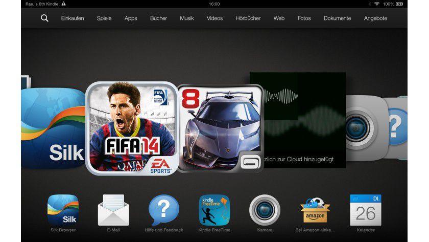 Alle Tablet-Inhalte sind auf dem Homescreen in einem Karussel angeordnet.