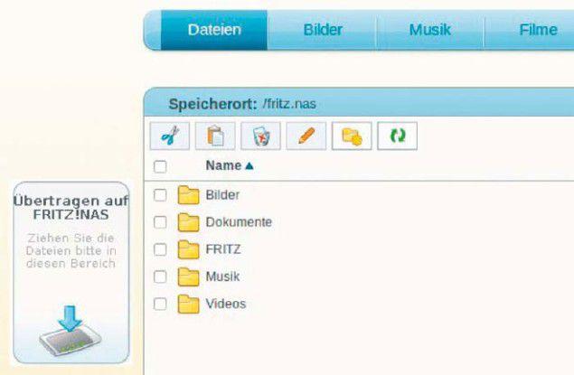 Fritzbox mit NAS-Option: Eine an den Router angeschlossene USB-Festplatte lässt sich über den Browser nutzen oder als Netzwerklaufwerk einbinden.