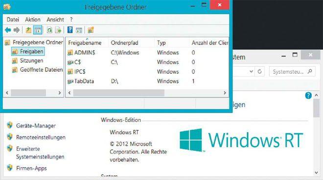 """Deaktivierte Server-Komponente: Ein ganz einfacher Eingriff in der Dienste-Konsole ermöglicht Windows- RT-Tablets die Datenfreigabe im Netzwerk. Der """"Server""""-Dienst ist nur standardmäßig abgeschaltet."""