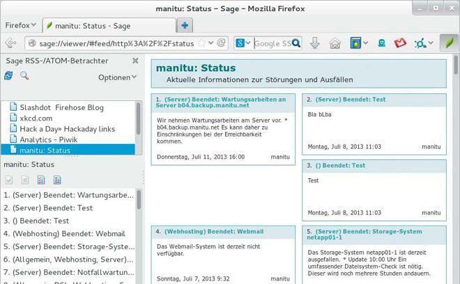 Ideal für mehrere PCs und Android-Geräte: Der Feed-Reader Sage ist ein Add-on für Firefox, das die Liste der Live-Lesezeichen und die gelesenen News über Sync abgleicht.