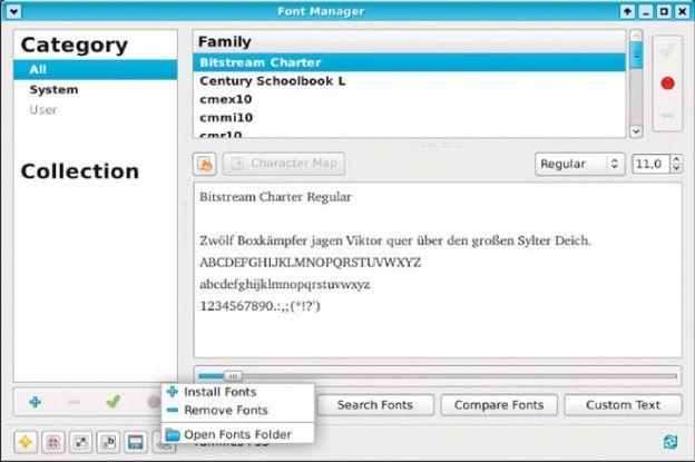 Schriftarten im Griff: Anders als KDE bieten die Desktop-Umgebungen Gnome, Unity & Co keine brauchbare Font-Verwaltungen. Der Font-Manager schließt die Lücke und installiert und entfernt benutzerspezifische Fonts.