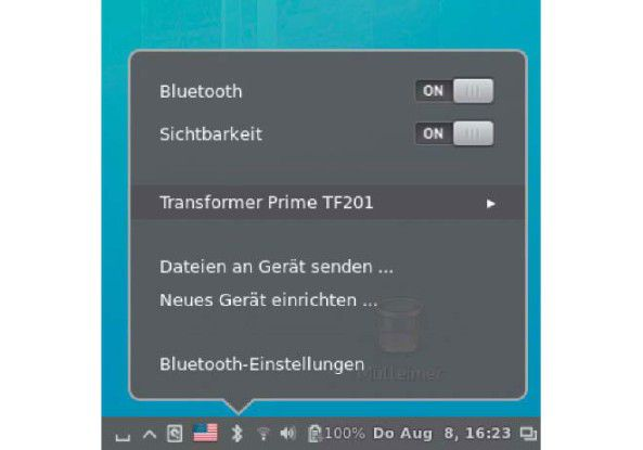 Kontaktaufnahme: Die Fernsteuerungs-App nutzt Bluetooth, und Sie müssen PC/Notebook und das Android-Gerät zunächst miteinander bekannt machen.