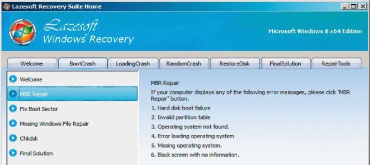 Das Programm-Modul Windows Recovery bietet auf der Registerkarte BootCrash zwei Funktionen zur Reparatur einer beschädigten Boot-Umgebung: MBR Repair und Fix Boot Sector.