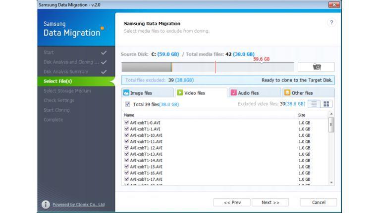 Die Software für die Datenmigration beim Einbau von Samsung SSDs vereint einfaches, standardisiertes Vorgehen mit individuellen Selektions- und Konfigurationsmöglichkeiten.