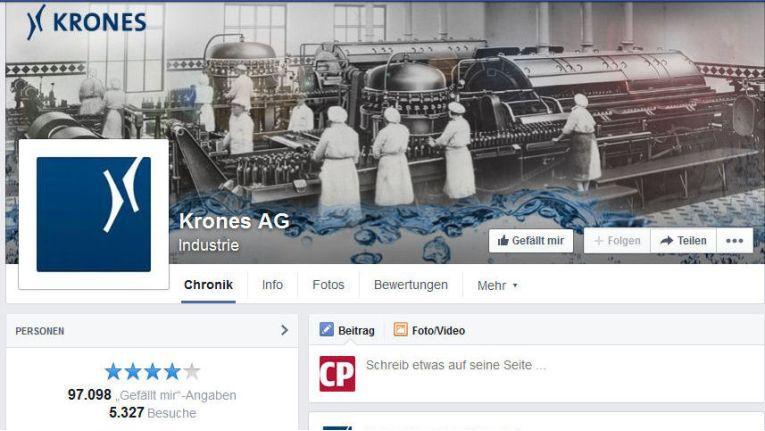Die Facebook-Präsenz der Krones AG ist beispielhaft für einen gelungenen Einsatzu von Sozialen Netzwerken in Unternehmen. Sie wurde mit 4 Sternen bewertet.