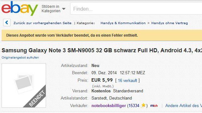 Auf den eBay-Artikelseiten lässt sich noch der 5,99-Preisfehler-GAU von Notebooksbilliger.de nachvollziehen.