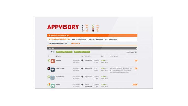 """Mit der App Risk Management-Lösung """"Appvisory"""" verspricht der Hersteller mediaTest digiital sichere Enterprise Mobility."""