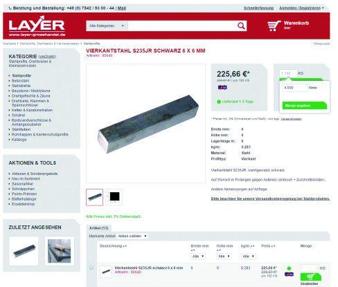 Auch eine Einheitenumrechnung ist im neuen Shop möglich, so das der Kunde zum Beispiel den Stahl in Metern statt Kilogramm bestellen kann.