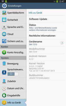 Update per Knopfdruck: Bei Android-Tablets lässt sich über die Einstellungen prüfen, ob eine neue Firmware vorliegt. Falls ja, können Sie sie auch gleich herunterladen und installieren