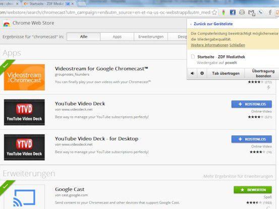 Auch aus dem Chrome-Browser vom Notebook lässt sich jedes Tab auf den Chromecast-Stick und damit auf den Fernseher übertragen, praxistauglich ist das aber nicht immer.