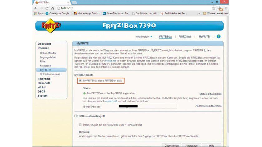 """Mit einem Klick auf das Kontrollkästchen bei """"Myfritz! für diese FRITZ!Box aktiv"""" starten Sie den Assistenten für die Einrichtung und können dann Schritt für Schritt Ihre Daten eingeben."""