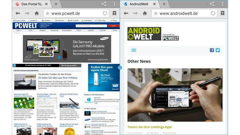 Multi-Windows: Beim Galaxy TabPRO 8.4 können Sie zwei Apps nebeneinander öffnen
