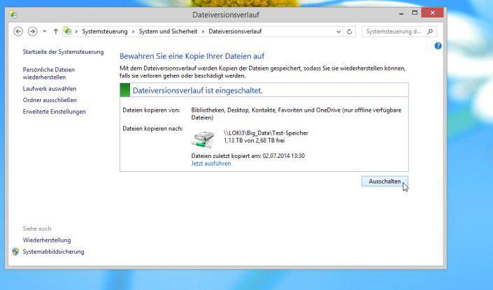 Microsofts Lösung zu Wiederherstellung von Dateien unter Windows 8/8.1: Der Dateiversionsverlauf erlaubt es dem Betriebssystem, auf einem externen Datenträger automatisch verschiedene Versionen der Dateien abzulegen.