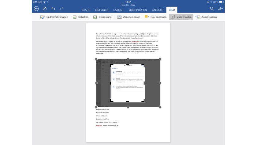 Zuschnitt: In der Version 1.1 von Word lassen sich eingefügte Bilder passen zuschneiden.