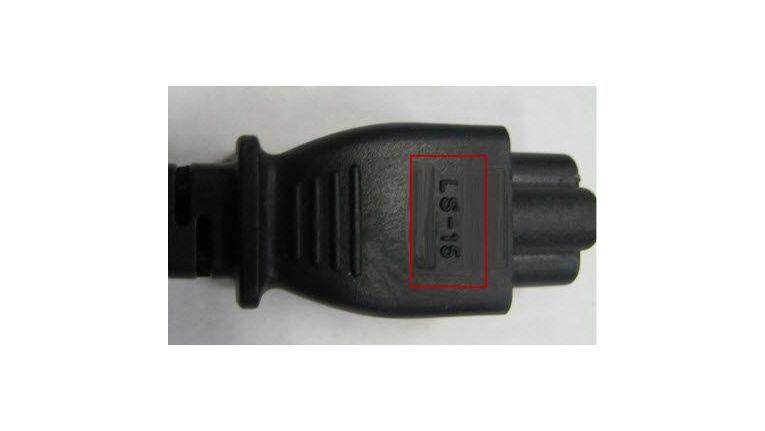 Rückrufaktion: Betroffene Netzteilkabel tragen die Markierung 'LS-15'.