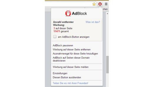 Tools wie AdBlock können auch vor Viren schützen.