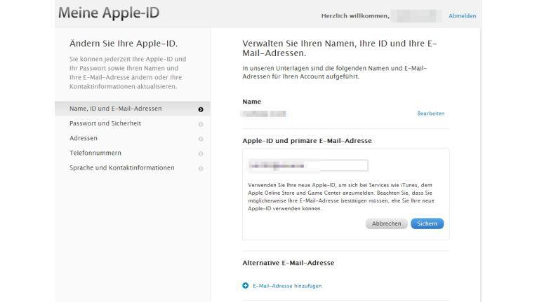 In den Einstellungen der Apple-ID können Sie die E-Mail-Adressen ändern.