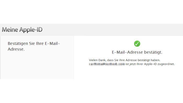 Nach der Änderung der E-Mail-Adresse müssen Sie die Änderung noch bestätigen. Die Bestätigung wird im Fenster angezeigt.