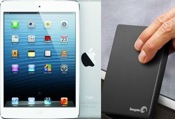 Gewinnen Sie ein iPad mini 2 oder eine portable Backup-Festplatte von Seagate.