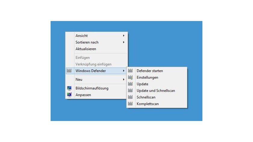 Integration: Die häufigsten Aufgaben für den Windows Defender lassen sich auch über das Desktop-Kontextmenü aufrufen.
