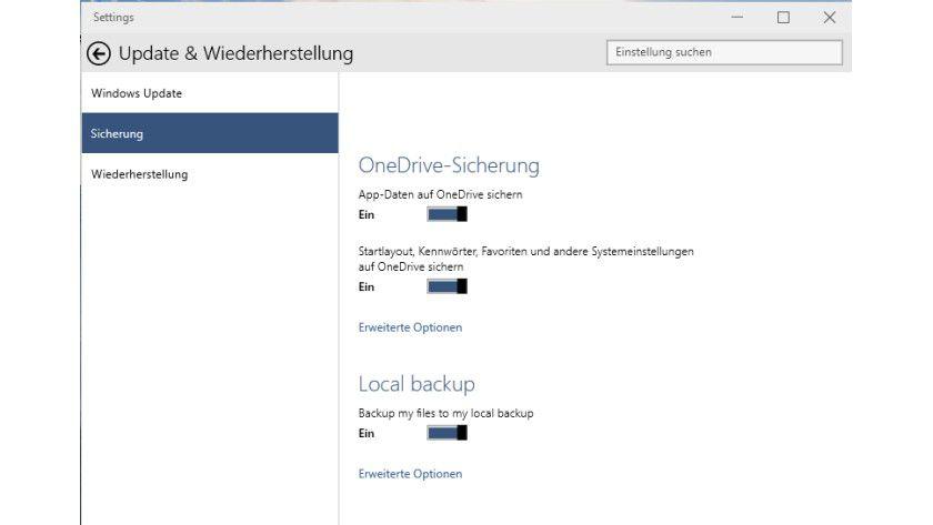 In den Windows-Einstellungen konfigurieren Sie die Synchronisierung der Daten zu OneDrive und die lokale Sicherung.