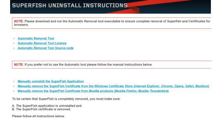 Superfish entfernen: Lenovo hat ein Tool bereitgestellt, das die Adware samt mitgelieferter Zertifikate entfernen soll.
