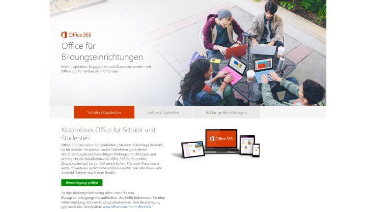Kostenloses Office 365: Ist ihre Bildungseinrichtung mit von der Partie können Schüler und Studenten Microsoft Office auf fünf PCs und mobilen Endgeräten einsetzen.