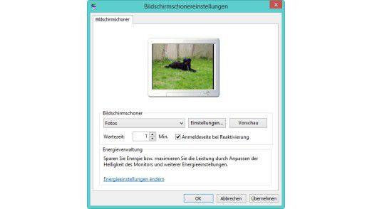 Den Bildschirmschon in Windows 8/8.1 können Sie durch ein Kennwort absichern lassen.